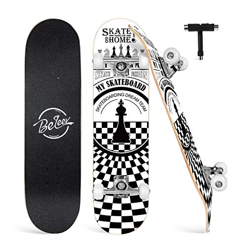 Standard Tricks Skateboard Completo 31Patr/ón a Cuadros 7 Capas Maple Decks Tabla de Skate c/óncava de Doble Patada Soporte Negro