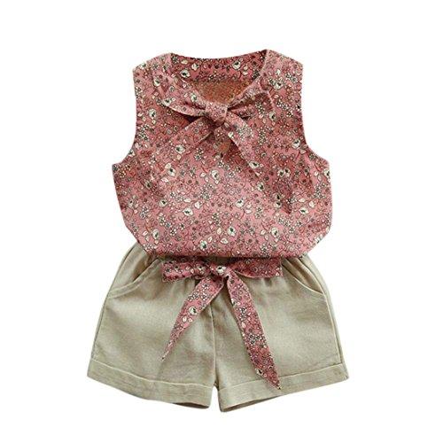 Bekleidung Longra Kleinkind Kinder Baby Mädchen Florale Bowknot Weste T-Shirt + Shorts Outfits Kleiderset Sommerkleidung für Kinder Mädchen(2-7Jahre) (120CM 4-5Jahre, Pink)