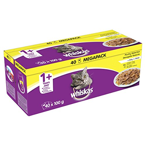 Whiskas 1+ Wet Food for Adult Cats Poultry Selection in Jelly, 40x100g
