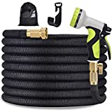 TOCZIM 100ft New Flexible Garden Hose - Superior Strength 3750D, 4-Layers Latex with 3/4' Solid Brass Connectors, 9 Function Spray Nozzle, Easy Storage Kink Free Flexible Lightweight Water Hose