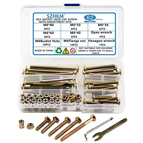 SZHKM 62PCS Furniture Bolts and Nuts, Crib Screws Hardware Replacement Kit,M6 Barrel Nuts for Cribs and Bunk Bed