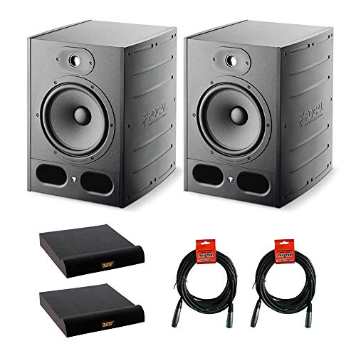 "Focal Alpha 80 2-Way 8"" Professional Studio Monitoring Speaker (Pair) with 2x Large Isolation Pad & 2x XLR-XLR Cable Bundle"