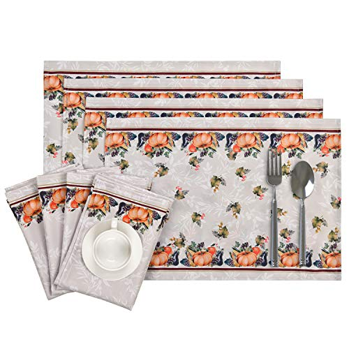 Thanksgiving Pumpkin and Leaves Placemats and Napkins Set of 4, Autumn Harvest Table Mats and Dinner Napkins, Watercolor Vegetables Placemats with Napkins for Dining Kitchen Table Decoration