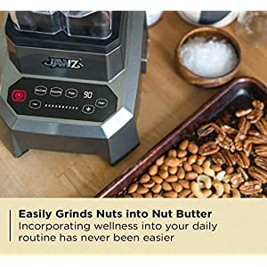 JAWZ High Performance Blender, 64 Oz Professional Grade Countertop Blender, Juicer, Smoothie or Nut Butter Maker, Precision Smart Touch Variable Speed, Stainless Steel Blades, Silver