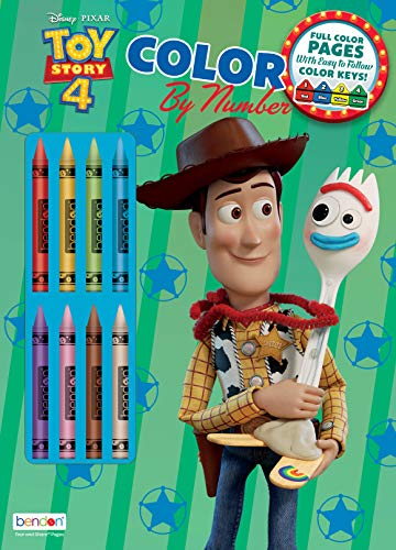 Toy Story Disney 4 32-Page Color by Number Activity Book with 8 Crayons 45662 Bendon
