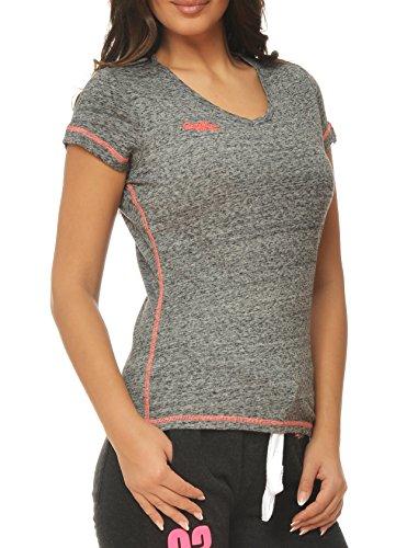 M.Conte dames fitness sportief T-shirt korte mouwen sweatshirt zwart blauw paars neon-roze S M L XL in de kleur grijs blauw, paars en zwart Ragazza