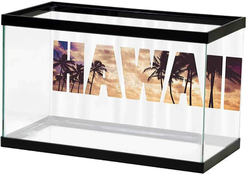 ScottDecor Hawaiian Decorations Collection Fish Tank Poster Holiday Beach Romance Resort Warm Colors Leaf Trendy Modern Illustration Image Photography Background Undersea Backdrop Orange Beige