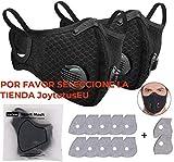 JOYTUTUS 2 x Cubrebocas de Ciclismo Anticontaminación con 12 Filtros de Carbón Activado, Protector Facial Lavable para Deportes al Aire Libre
