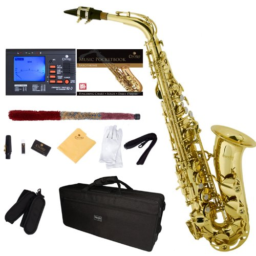 Gold lacquered body and keys Eb alto sax High F# key Rib construction, stainless steel springs, quality leather pads, metal resonators Includes: tuner, mouthpiece with ligature, hard case, box of 2.5 reeds, neck strap, cleaning rod, polishing cloth, ...