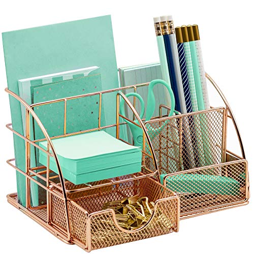 Sorbus Rose Gold Desk Organizer for Women, Cute Office Accessories Decor, Desktop Caddy Supplies Organization Includes Pen/Pencil Holder, Mail Organizer, and Sliding Drawer for Home or Office(Copper/Rose Gold)