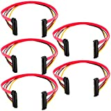 JacobsParts 5-Pack 15+7 Pin SATA HDD Extension Cable Data & Power Male to Female, 11' / 30cm