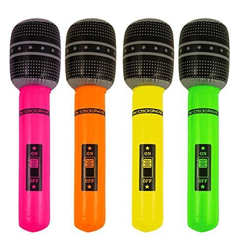 Islander Mode Gonfiabile Chitarra Sassofono Microfono Blow Up Fancy Dress Party Prop Accessory Gonfiabile Microfono Confezione da 4
