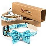 Pettsie collare per cani con papillon e braccialetto dell'amicizia, resistente, morbido, con fantasia in cotone, forte anello a D per un facile fissaggio del guinzaglio (S, blu)
