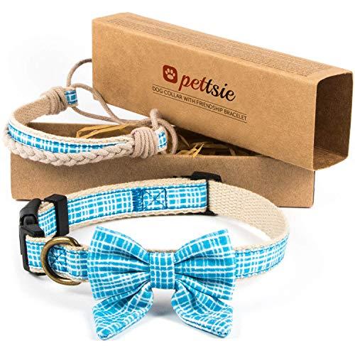 pettsie Hundehalsband mit Fliege und Freundschaftsarmband, einstellbare Größen S und M, haustierfreundlicher Hanf, stark und langlebig, tolles Geschenk für Hundeliebhaber in Geschenkbox (S, Blau)