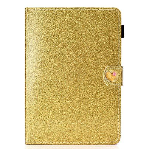 WEI RONGHUA Funda de piel con tapa horizontal para tablet de 10 pulgadas, universal, con purpurina, con hebilla de amor, horizontal, con soporte y ranuras para tarjetas, color dorado
