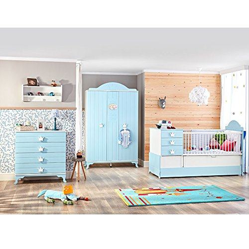 Elegant meegroeiende babykamer Little King met kast, commode & babybed