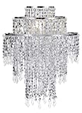 Waneway Large 3 Tiers Silver Sparkling Beads Pendant Shade, Ceiling Chandelier Lampshade with Acrylic Jewel Droplets, Beaded Lampshade with Chrome Frame and Sparkling Beads, Diameter 12.6', Silver
