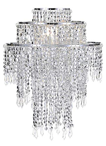 Waneway Large 3 Tiers Silver Sparkling Beads Pendant Shade, Ceiling Chandelier Lampshade with Acrylic Jewel Droplets, Beaded Lampshade with Chrome Frame and Sparkling Beads, Diameter 12.6'', Silver