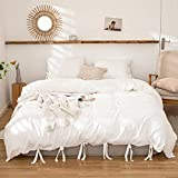 Bedbay White Bedding Offwhite Bow Tie Duvet Cover Set Soft Washed Microfiber Butterfly Bowknot Bedding Queen (90x90inch) for Boys Girls 1 Bow Tie Duvet Cover 2 Pillowcases (White, Queen)