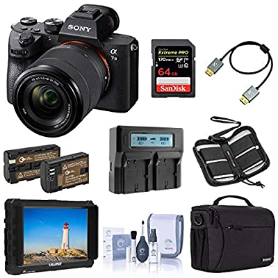 Sony Alpha a7 III Mirrorless Digital Camera with 28-70mm Lens Video Monitor Bundle with Lilliput 7-inch Monitor, Bag, 64GB SD Card, Extra Battery, Dual Charger and Accessories from Sony
