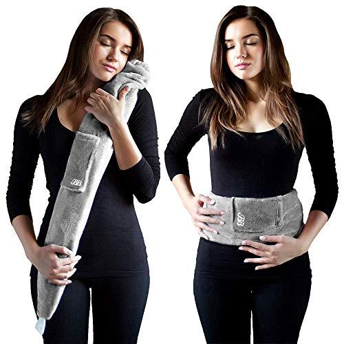 Bis zu 6 Stunden warm, praktischer Riemen zum Umbinden. Umweltfreundlich. Das Original von YUYU. Wärmflasche Naturkautschuk mit Fleecebezug, grau. Mit 75 cm extra lang