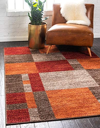 Unique Loom Autumn Collection Checkered Abstract Casual Warm Toned Multi Area Rug 8 0 x 10 0 product image