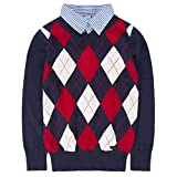 Benito & Benita Boys Argyle Sweater Plaid Holiday Knit Pullover Outfits School Uniform Tops Shirt Collar for Kids Navy/Red 7-8Y