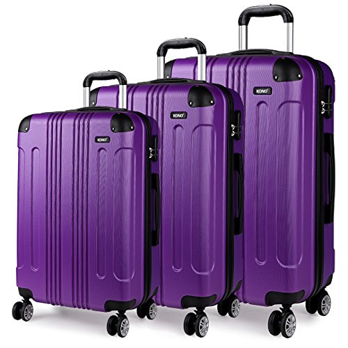 Kono 3pcs Luggage Sets Travel Trolley Case Hard Shell ABS Light Weight Suitcase with 4 Spinner Wheel Fashion Luggage for Business Holiday (Purple Set)