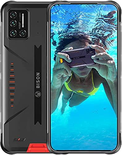 Telephone Portable Incassable,UMIDIGI Bison Smartphone Incassable, Caméra 48MP + 24MP,8GB+128GB,6.3' FHD avec Batterie 5000mAh, IP68 Antichoc/Étanch/NFC,Dual-SIM,Version Mondiale 4G Volte-Orange