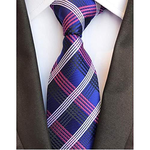 WJZHD Krawatte 8Cm Check Gelb Beige Jacquard Gewebte Seidenkrawatten Herrenhalskrawatte Floral Plaid Gestreifte Krawatten Herren Hochzeitsanzug Busine