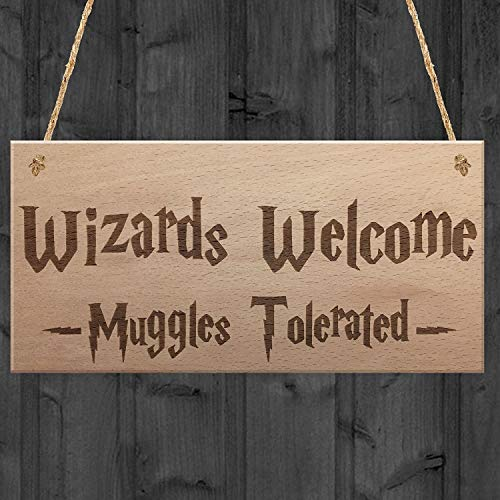 XLD Store Wizards Welcome Muggles Tolerated Gift Hanging Plaque Magic Home Wood Sign