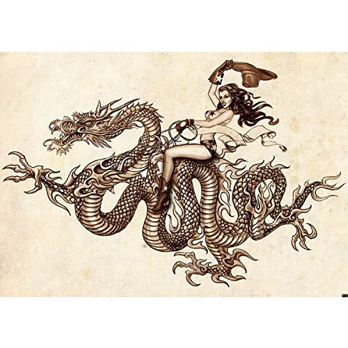 Vlies Fototapete PREMIUM PLUS Wand Foto Tapete Wand Bild Vliestapete - Drachen Zeichnung Illustration Frau Vintage - no. 1204, Größe:368x254cm Vlies