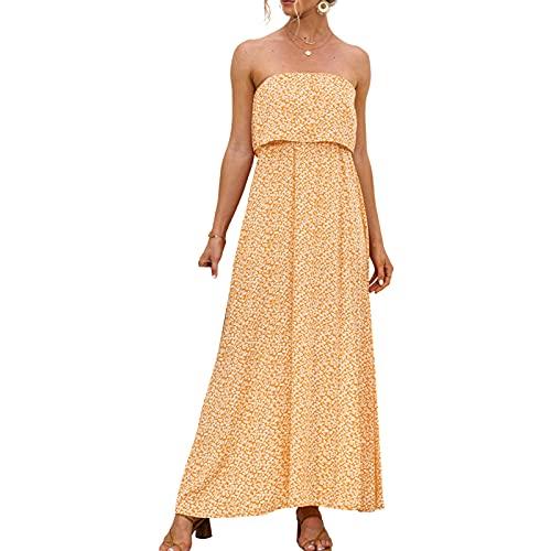 NINALUNA Vestido largo de verano sin tirantes Boho Beach Front Slit Floral Maxi vestido de playa estampado floral vestidos de vacaciones, amarillo, M