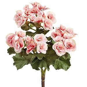 10″ Silk Begonia Flower Bush -Pink (Pack of 12)