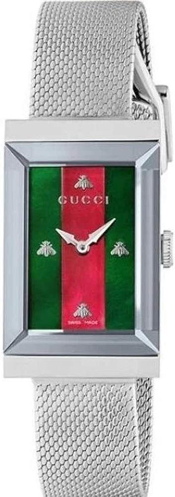 Gucci , orologio g-frame per donna,in acciaio 316 l. e quadrante in madreperla YA147401