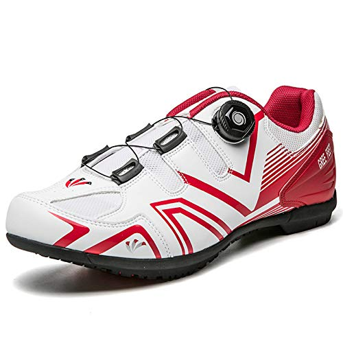 AGYE Calzado de Ciclismo para Hombre,Zapatos de Bicicleta Antideslizantes,Zapatos de Bicicleta de Montaña y Carretera Sin Bloqueo para Hombres y Mujeres,White-42
