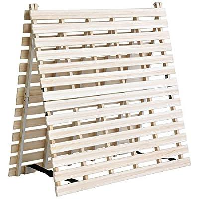 タンスのゲン すのこマット シングル ベッドフレーム 折りたたみ ベッド 二つ折りタイプ リブ加工 天然桐 AM 000078 【51280】
