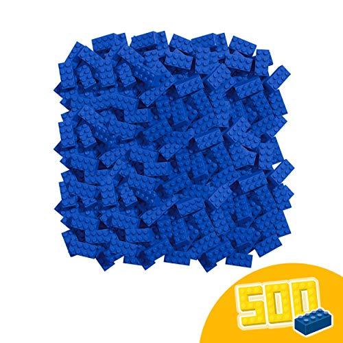 Simba 104118925 Blox, 500 blaue Bausteine Made in Italy, 8er Steine, im Karton, incl. Füllbecher, höchste Qualität und 100 Prozent kompatibel mit bekannten Spielsteinen