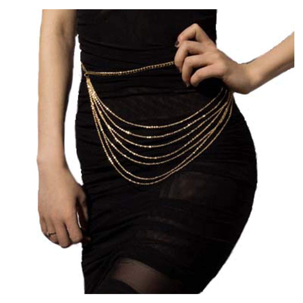 Fstrend Fashion Layered Body Chain Gold Sexy Tassel Belly Waist Chains Party Prom Festival Accessories Jewelry for Women and Girls