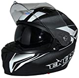 protectWEAR the safety kick Casco moto integrale Casco integrale con visiera parasole integrata e visiera pieghevole FS-818-SW-M