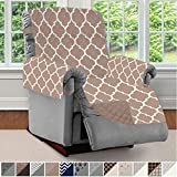 SOFA SHIELD Original Patent Pending Reversible Large Recliner Protector, Seat Width to 28 Inch, Furniture Slipcover, 2 Inch Strap, Reclining Chair Slip Cover Throw for Pets, Recliner, Quatrefoil Mocha