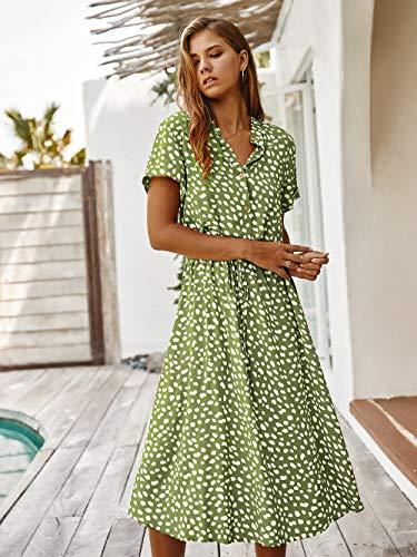 M & A Kleid Kurzarm Kleid mit Dot-Print-Frauen Frauen drehen Kragen einreihig mittellang elegant elegant schnüren Frauen lässig Sommerkleid-Grün_L.