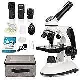 HUTACT Microscope Professionnel, grossissement 40X-2000X, Microscope Optique, kit de Diapositives préparées, Double éclairage LED, Toutes Les optiques en Verre et capacité sans Fil pour débutant