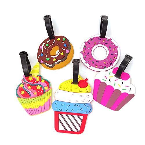 Honbay 5PCS Cake Doughnuts Luggage Tags Silicone Baggage Labels Travel Identifier Tags