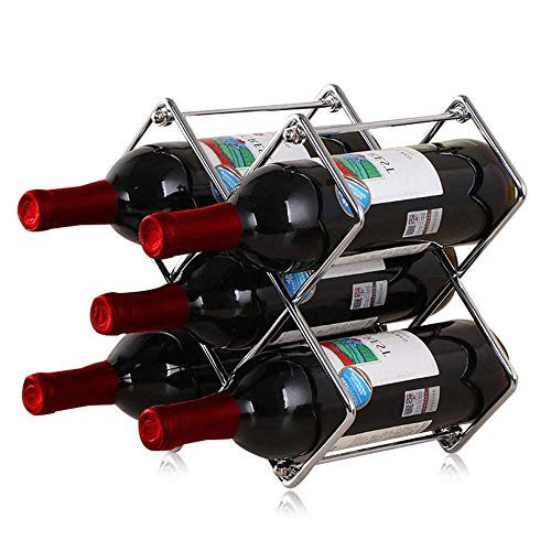 Logo Wine Rack Metal 6 Bottles Freestanding Stackable Wine Bottle Holder for Home Kitchen Bar Decoration