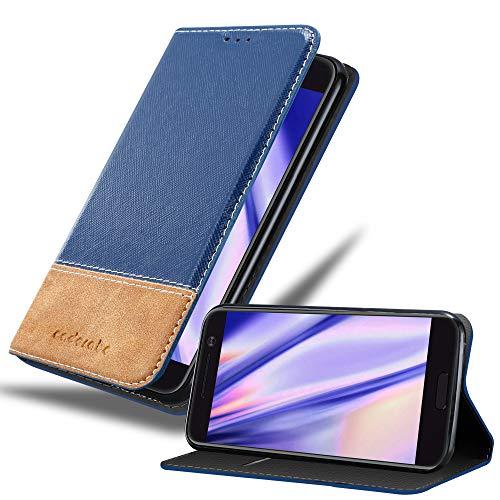 Cadorabo Hülle für HTC 10 (One M10) - Hülle in DUNKEL BLAU BRAUN – Handyhülle mit Standfunktion & Kartenfach aus Einer Kunstlederkombi - Case Cover Schutzhülle Etui Tasche Book