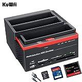 Hard Drive Docking Station, KuWFi 2.5 '/3.5' Porte USB 3.0 a 2 SATA 1 Porta IDE Disco rigido esterno Unità disco fisso Lettore di schede USB3.0 Hub con OTB / OTC offline