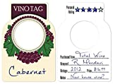Vino Tag Two Sided Wine Bottle Tags - Large Paper Wine Tags for your Wine Storage Cellar that Hang on the Glass Neck in Your Hutch , Rack Barrel Crate or Cube Great Gift for Any Enthusiast (100 pcs)