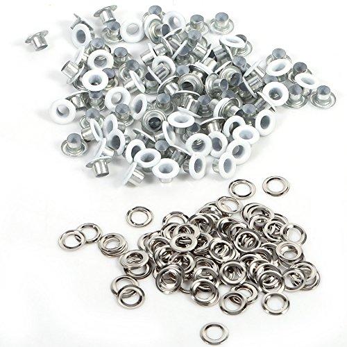 Set metalen oogjes, 4 mm oogjes met schijven voor doe-het-zelf leer, kleding, schoenen, riem handwerk 100 stuks wit