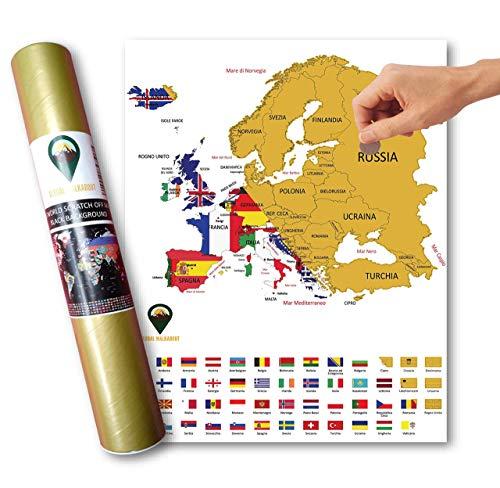 Global Walkabout Italienisches Weltkarte, Rubbelkarte und Gewinner mit Flaggen – Poster der Europa-Karte Deluxe – Länder und Fertigkeiten – Geschenk für Reisen weiß